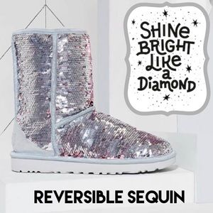 UGG Classic Short Silver Reversible Sequin Boot